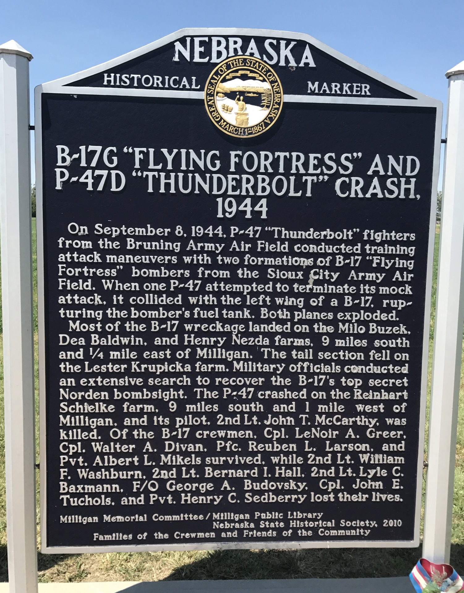 "B-17G ""Flying Fortress"" and P-47D ""Thunderbolt"" Crash, 1944 - NE Hwy 41 E of Milligan"