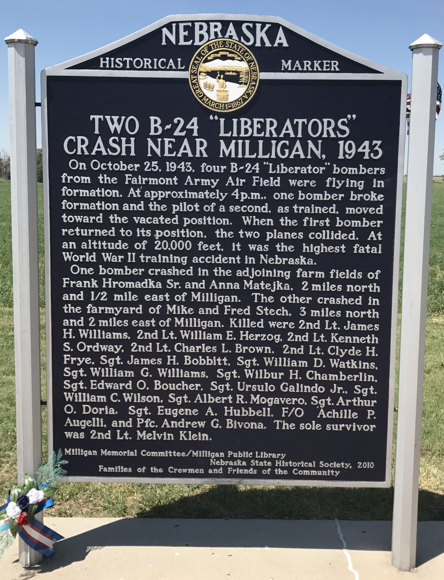 "Two B-24 ""Liberators"" Crash Near Milligan, 1943 - NE HWY 41 E of Milligan"