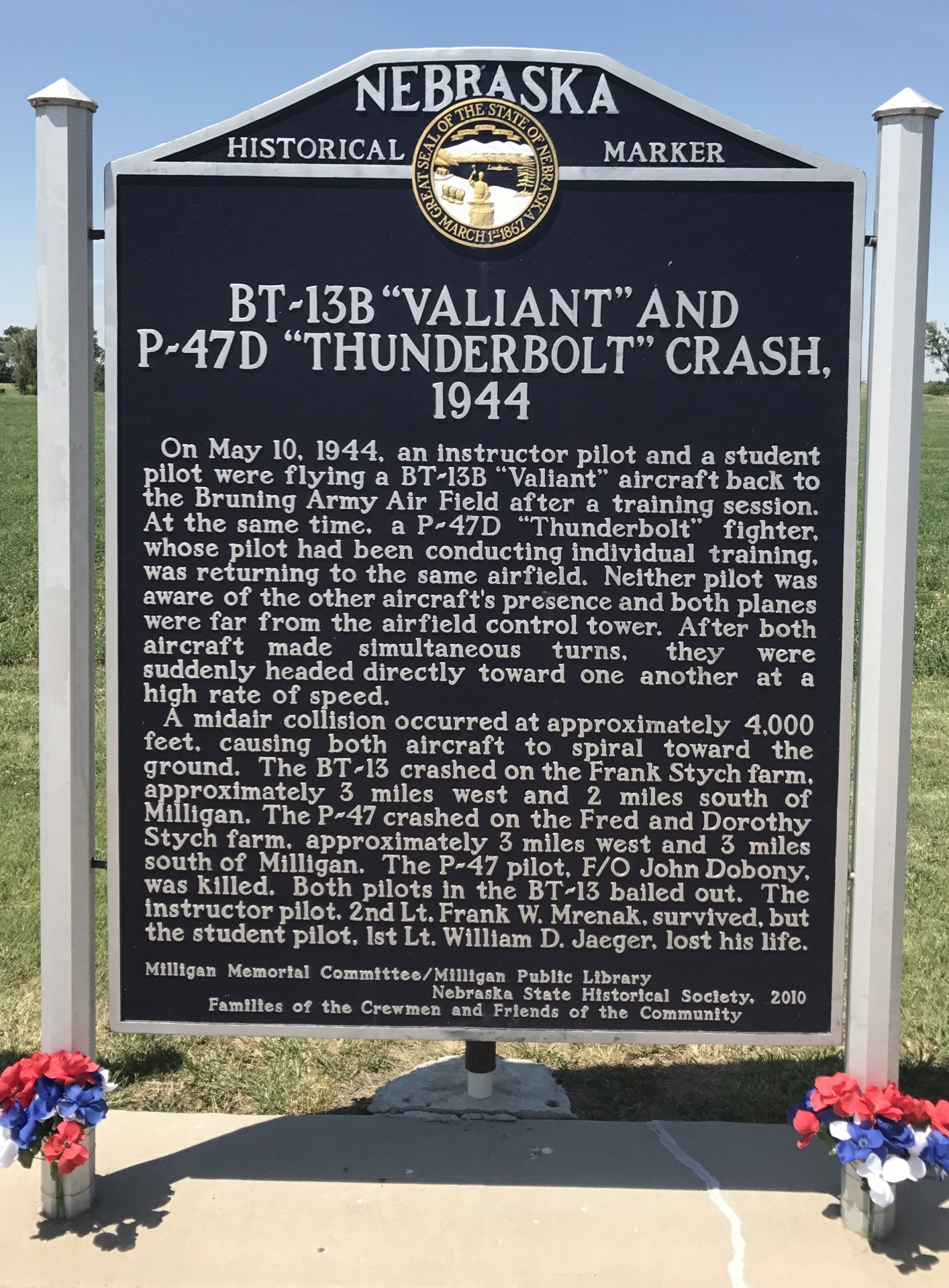 "BT-13B ""Valiant and P-47D ""Thunderbolt"" Crash, 1944 - NE HWY 41 E of Milligan"