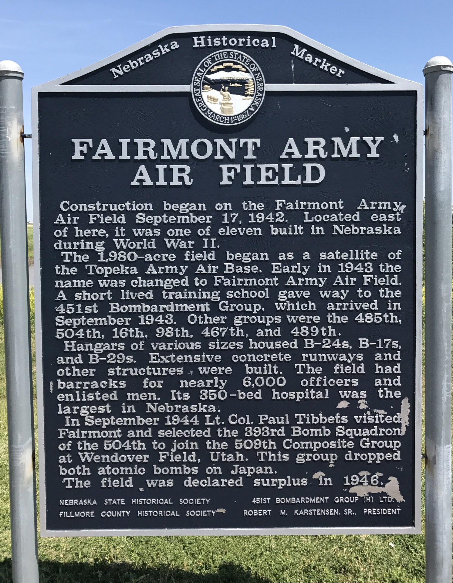 Fairmont Army Air Field - U.S Highway 81