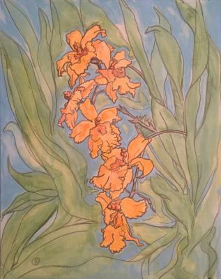 Orange Orchids- Available