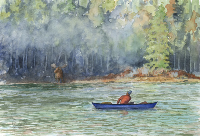 Canoe in Morning Mist