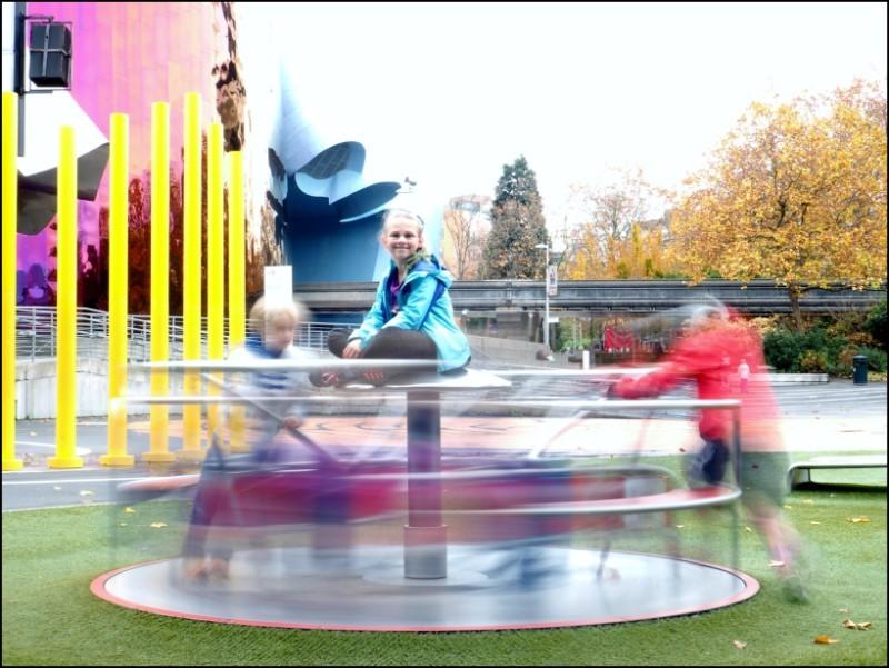 Kids on a merry-go-round