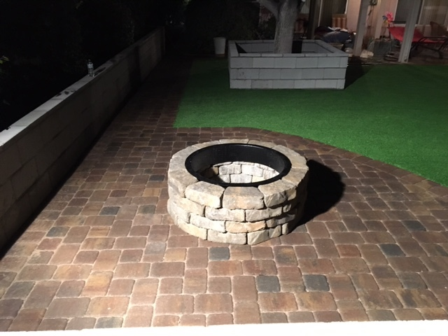 """approximately 110 sq. feet area with 48"""" fire pit"""