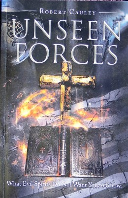 Unseen Forces book cover button in blue with lightening and a cross and a Bible for $19.95