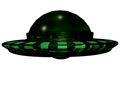 Flying Saucer with lights that are green in color