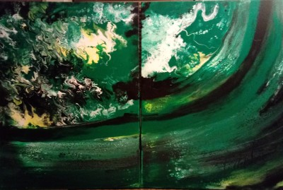 """VORTICES-Two 30""""x40""""-The Owner has renamed the painting  """"Positive Cash Flow"""".  I Like It!!"""