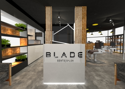 Barber shop interior design in dubai, creative interiors, freelance interior design service in uae, interior design firm for retail interior design, open ceiling barber shop design