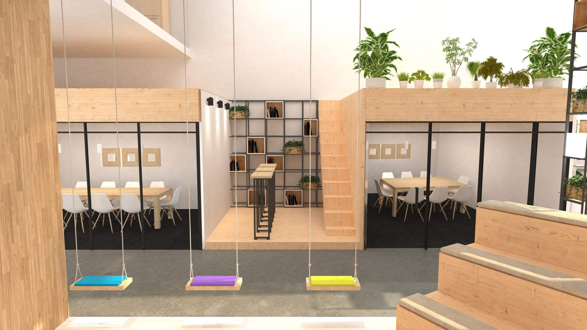 Inspiring places to work, office swings and green plants, fresh interiors for work place , work place of the future, productive office interior design, work in an office that feels like home by Rosha Interiors