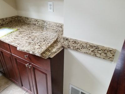 Santa Cecilia Granite cracked, broken granite