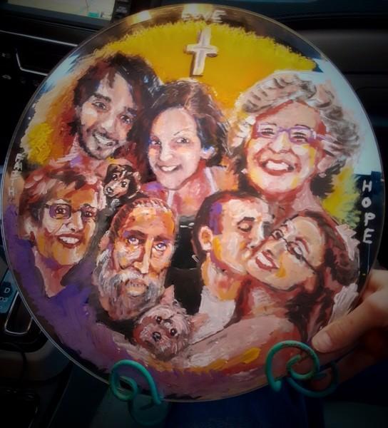 Simon Family, painted on mirror