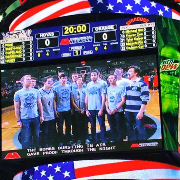 The Georgetown Chimes singing the national anthem at Georgetown Basketball game