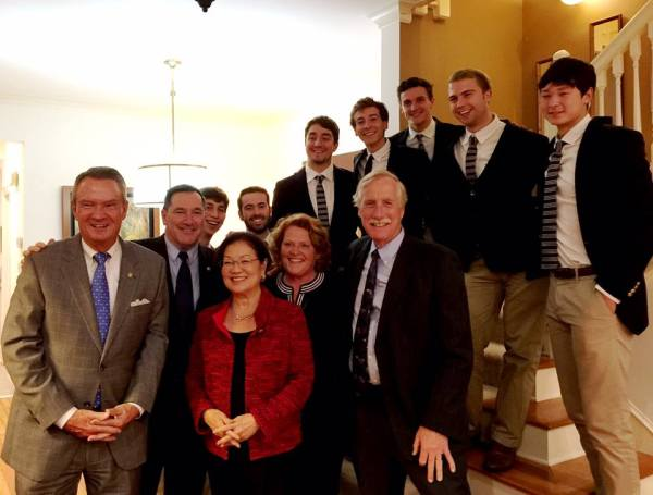 The Georgetown Chimes singing for Senators Heitkamp Hirono Breaux King