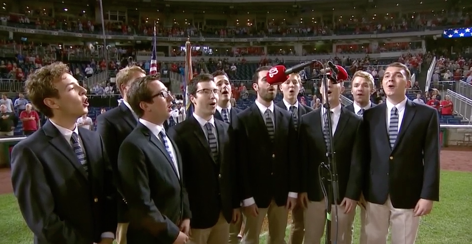 The Georgetown Chimes Singing the National Anthem at the Nationals Game MLB