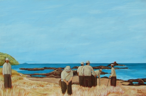 Workers on Base Track 61 x 91 cm