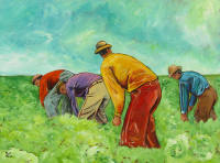 Painting of men working in a field by Bryce Brown