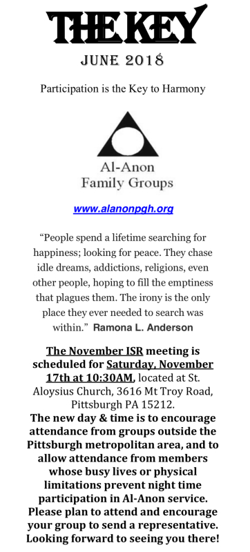 Pittsburgh Al-Anon Announcements