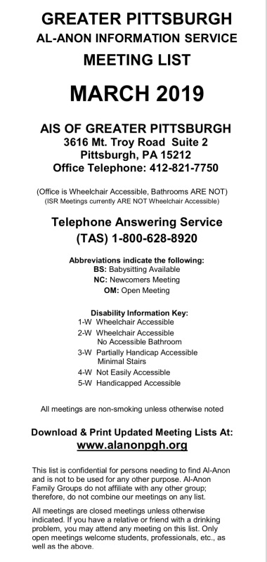 Pittsburgh Al-Anon Meeting List