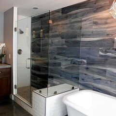 Bathroom Remodel using Brazilian Tigerwood wood looking tile
