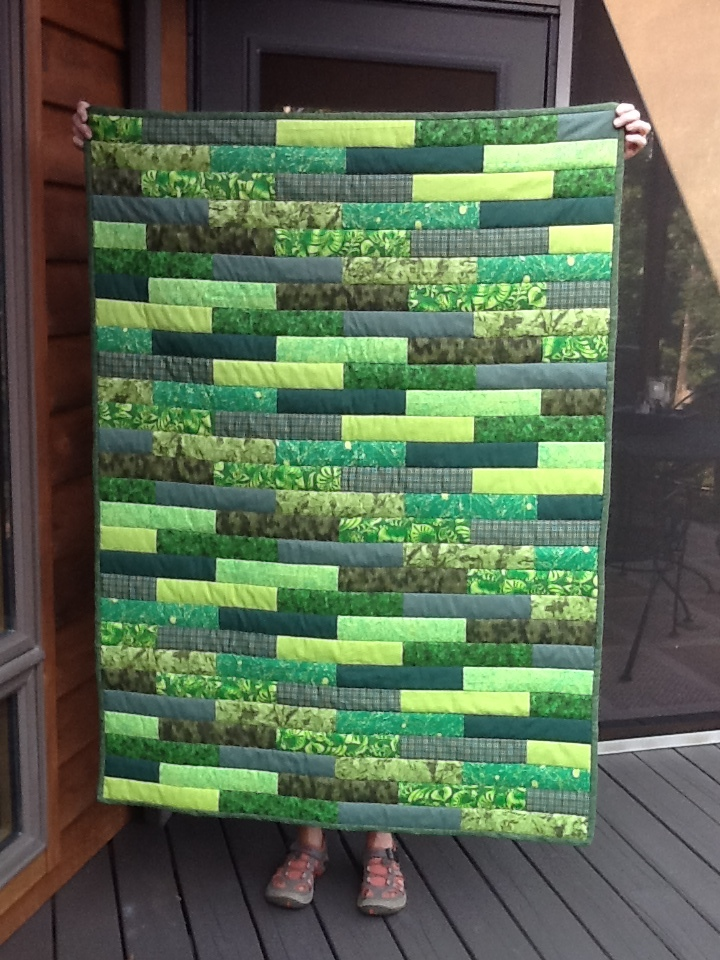 Block pattern in shades of green