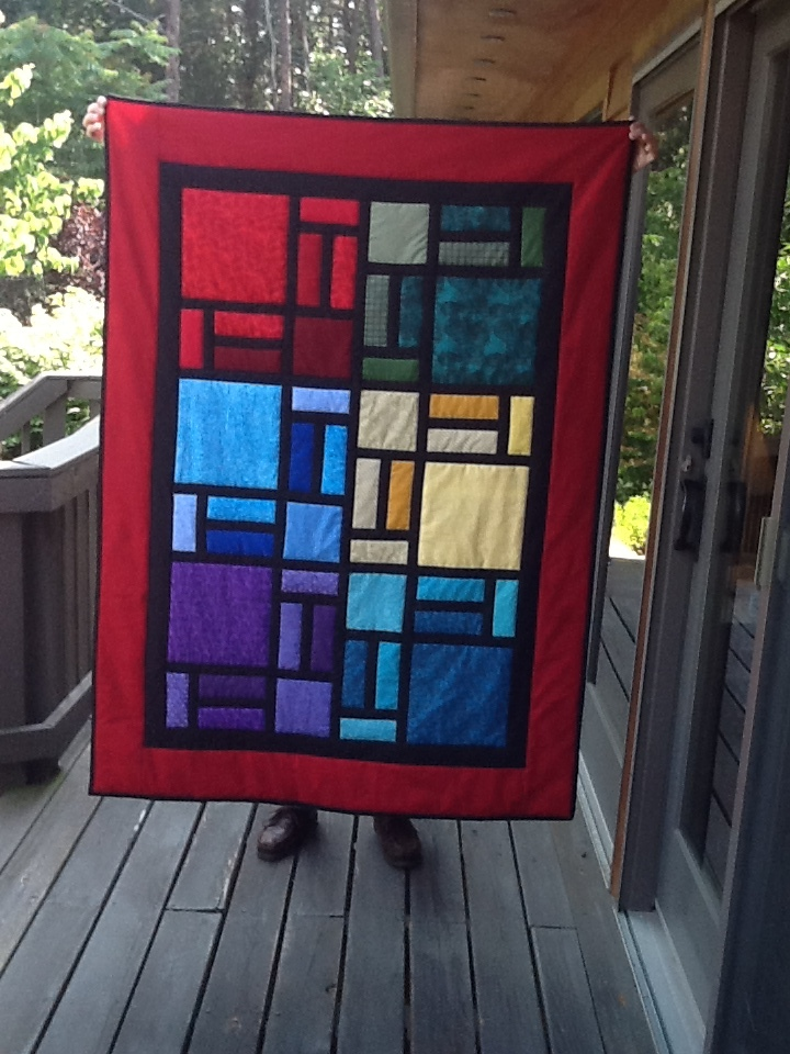 Block design in stained glass colors