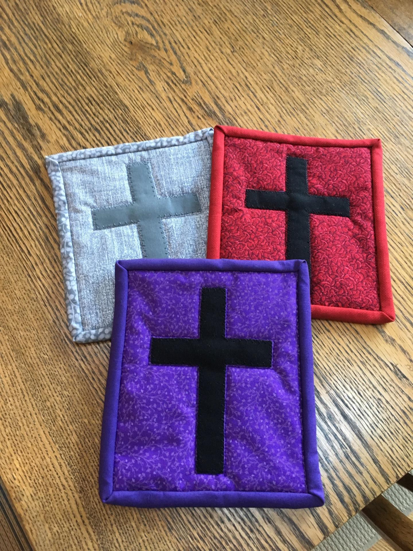 Cross stitched on bright fabric