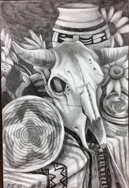 Bull Skull Still Life