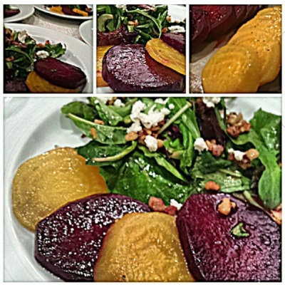 Pickled local beets, lemon arugula, candied walnuts, chevre