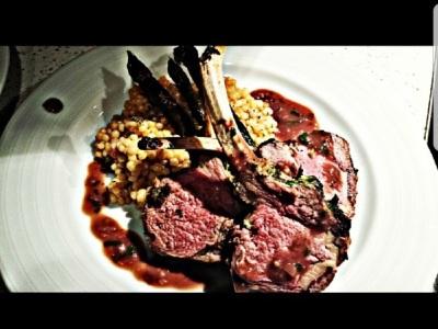 Roasted Colorado lamb rack, wild mushroom couscous,Cabernet Demi