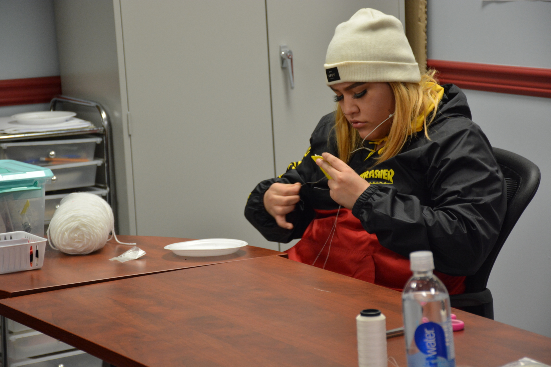 Student working on Bead work