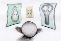 pencil, The Dark Side of the Moon, animation, character design, illustration, Moon, mirror