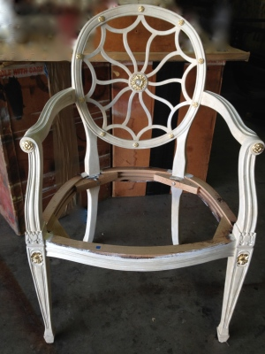 Spider Back Chair with painted finish and gold leaf accents