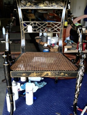 Black Lacquer Chinoiserie Chair with chipped paint