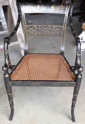 Restored and repaired black lacquer chair