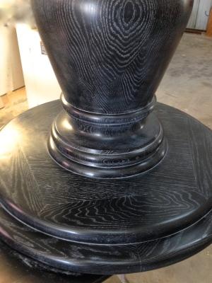 Table base showing custom black cerused finish