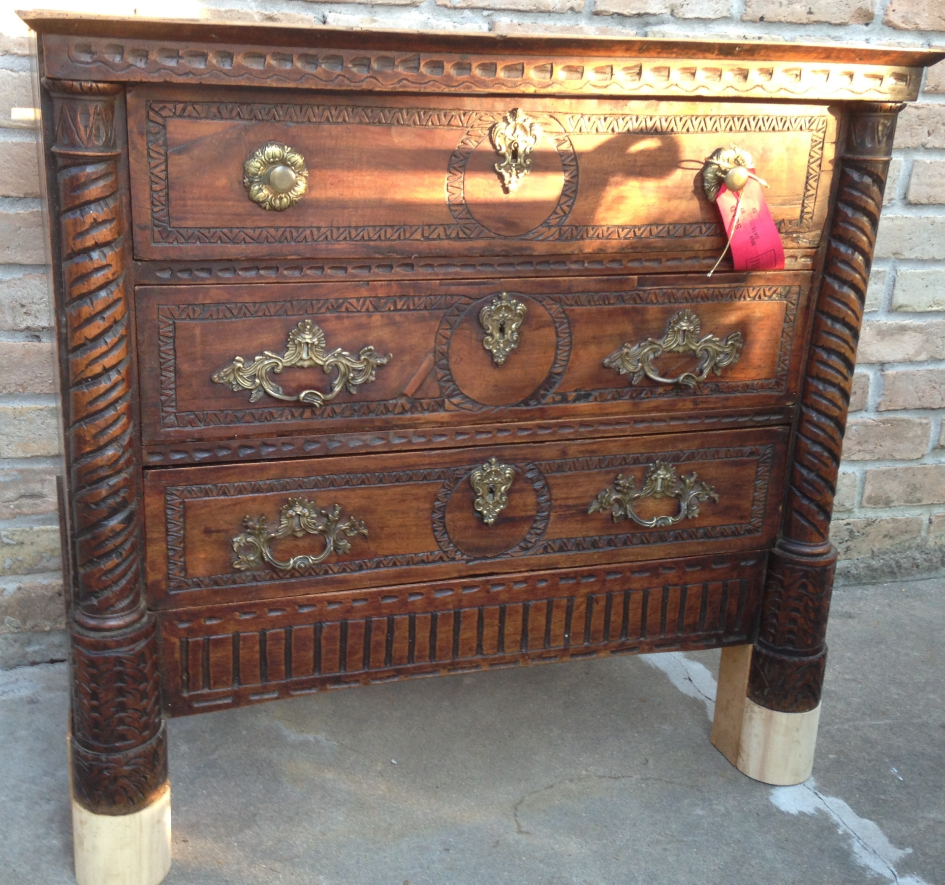 Carved French Chest customized to add height to piece