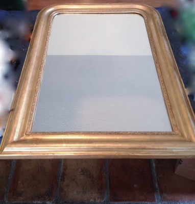 Fully restored Louis Phillipe Mirror  repaired, recreated missing pieces, gold leaf