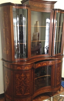 China Cabinet with inlay cleaned and restored