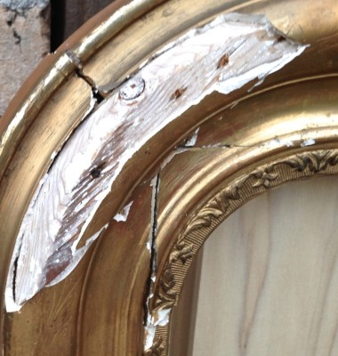 Damaged Louis Phillpe mirror with chipped gesso