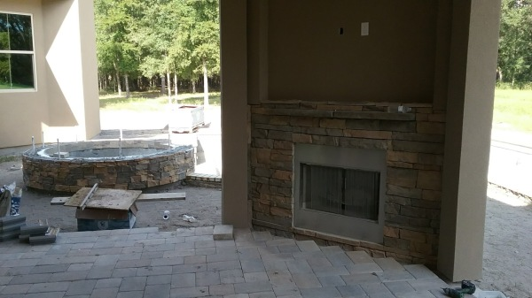 Outdoor fireplace and pavers