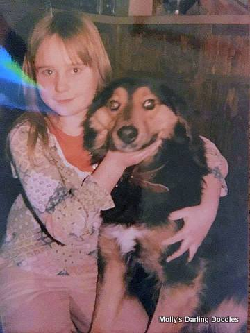 Molly with her childhood phantom mix breed dog, Cocoa