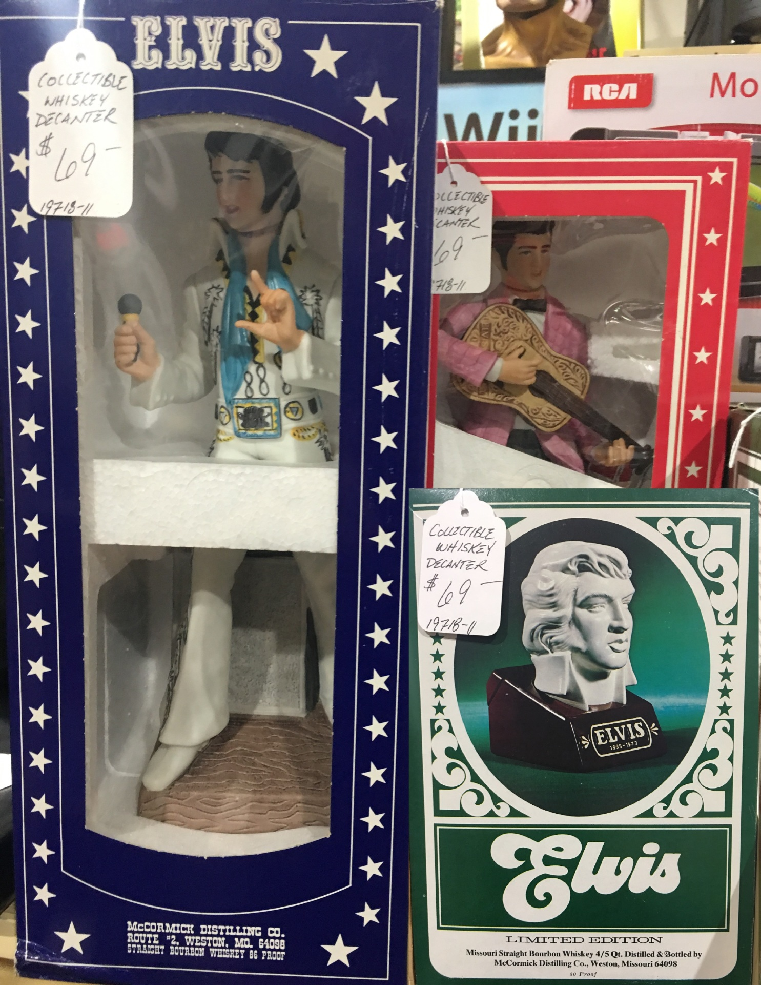 4 ELVIS WHISKEY DECANTERS