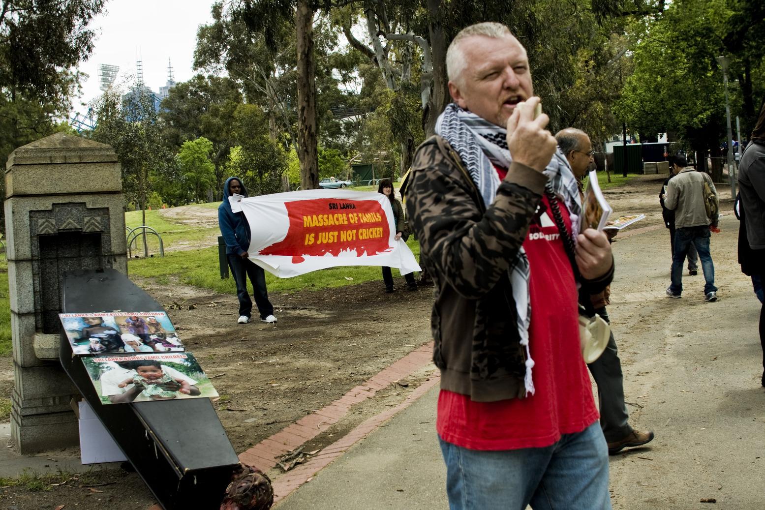 Boycott Sri Lanka Cricket Protest Outside MCG