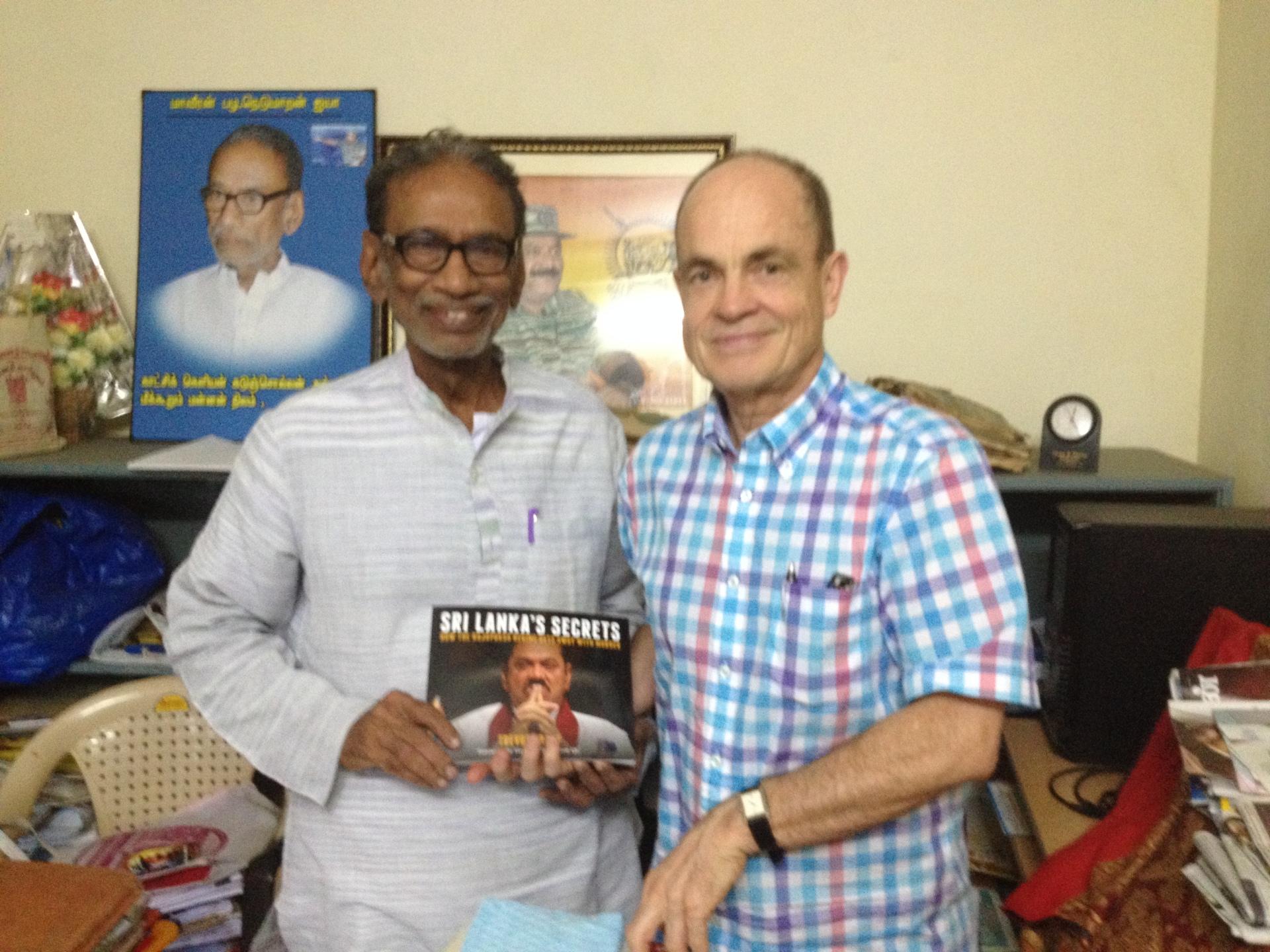 Trevor Grant, former spokesperson of TRC, with veteran Tamil politician Pazha Nedumaran