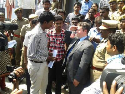 Protest outside Australian High Commission in Chennai, India
