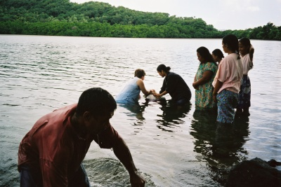 Baptism in the sea, Micronesia