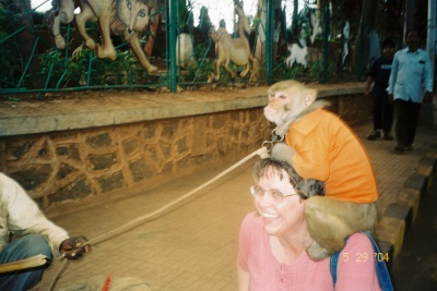 With a monkey, in India