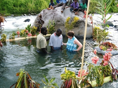 Baptism in the river, Bougainville, Papua New Guinea