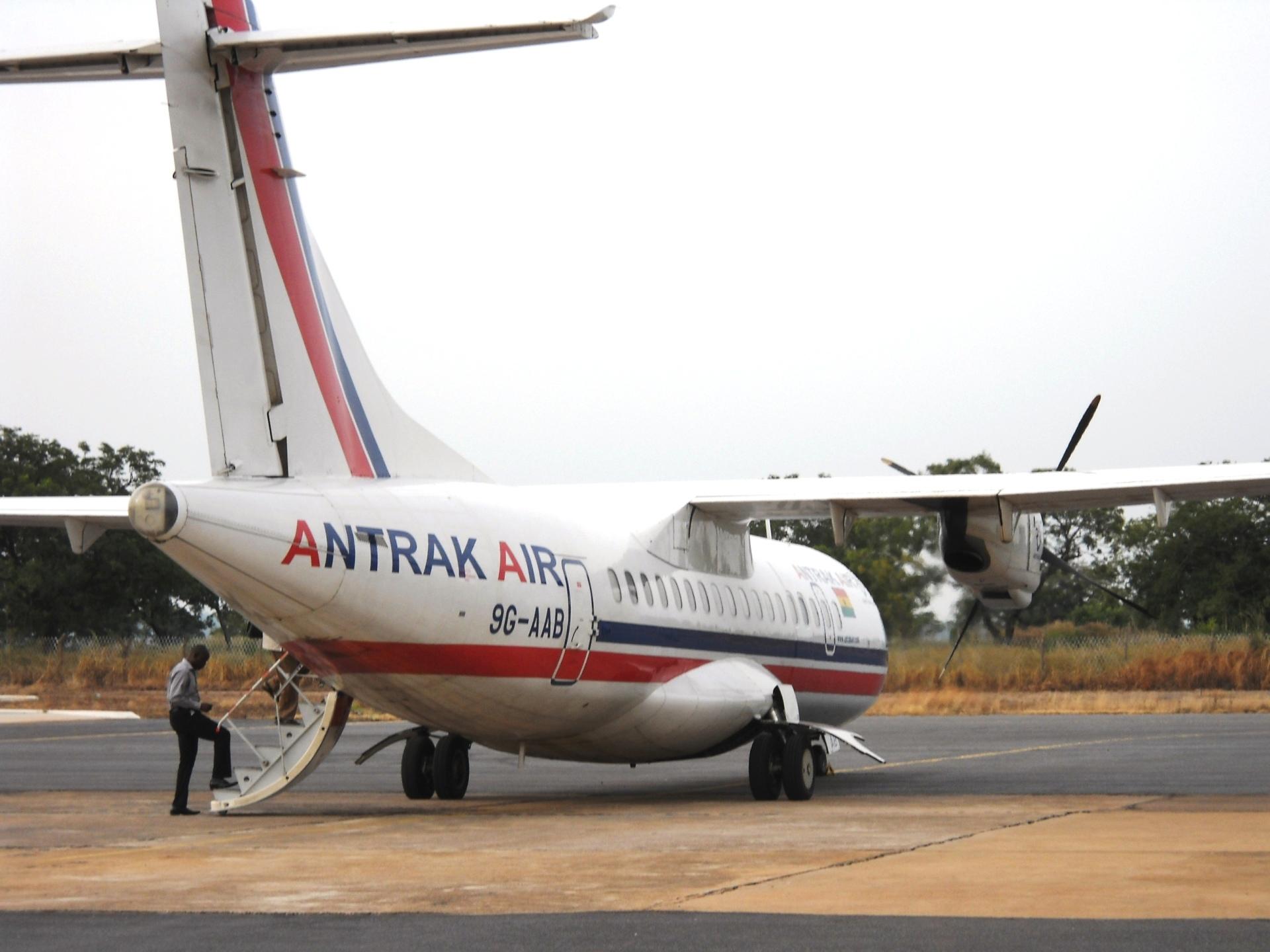 By propeller plane, Ghana