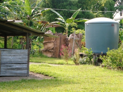 My shower (middle) and kitchen (left) in Bougainville, Papua New Guinea
